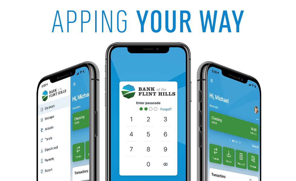 Online Banking Mobile App visuals on Three Smart Phones