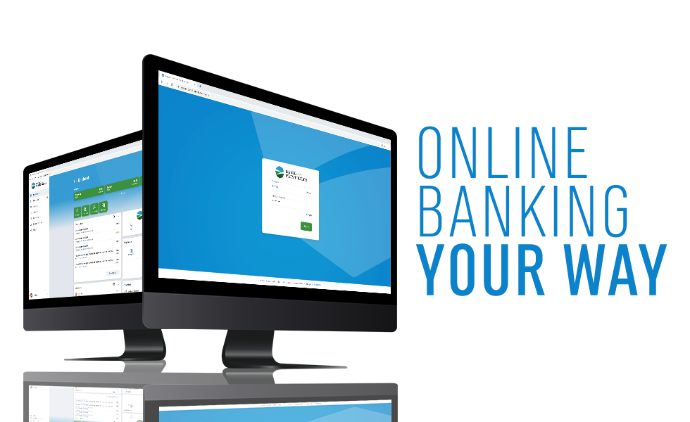 Online Banking visuals on Two Computer Monitors